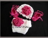 ENSEMBLE BONNET / CACHE COUCHE / BALLERINES IDEAL ACCESSOIRES PHOTOS / SHOOTING BEBES : Mode Bébé par le-crochet-d-isa