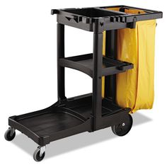 """Rubbermaid Commercial RCP9T80YEL Vinyl Cleaning Cart Bag 26 gal. Yellow 17-1/2""""w Yellow Janitorial Supplies Utility Carts Cart Bags"""