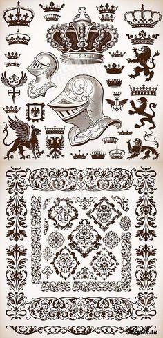 Геральдика и декоративные орнаменты - векторные элементы