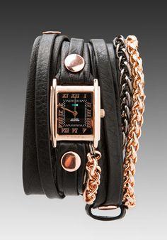 LA MER Motor Wrap Watch in Black/Rose Gold