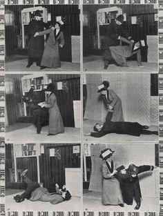 Demonstration of ju jitsu for suffragettes