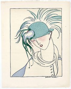 Borelli-Vranska 1914 Pochoir Plate, In the Shade of the Bird, Hat Feathers