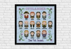"""Outlander fans, this cross stitch pattern is designed for you! It includes all the main characters, from Jamie and Claire up to Roger and Brianna and the quote """"Dinna Fash, Sassenach"""". Its square design will allow you to turn it into a little pillow or to"""