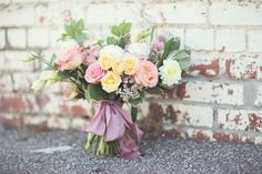 What perfect colors for a spring wedding! | Florist: Ever Something Event Styling | Photography: Hope Photography | Wedding Inspiration | Brides of Oklahoma #bridesofok #oklahomawedding #bouquet