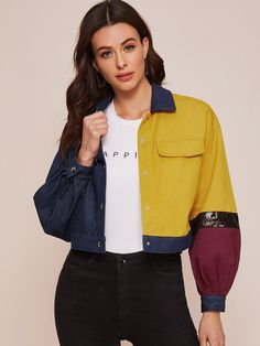 Contrast Sequin Detail Balloon Sleeve Colorblock Jacket | SHEIN USA Diy Clothes, Color Blocking, Contrast, Balloons, Summer Outfits, Sequins, Lingerie, Detail, Sleeve
