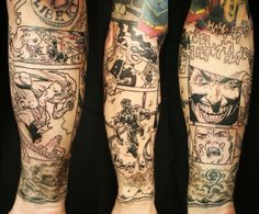 Amazing Comic Book Tattoo | Photo Gallery - Tattooku. What I like about this is the HAHAHAHA! part and the Joker frame with another frame under it.