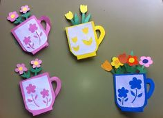 Meus Trabalhos Pedagógicos ®: Cartão para dia das mães - xícara com flores - com molde