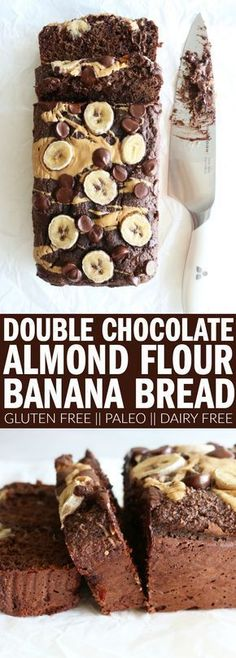 The best double chocolate banana bread recipe you'll ever need! Made with almond flour, it's gluten free, dairy free, and paleo! Grab the milk and enjoy the chocolatey goodness!! | Posted By: DebbieNet.com