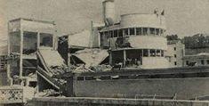 Piscina de la Isla tras el impacto de un obús en 1939