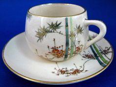 Cup And Saucer Satsuma Meji Period Kizan Bamboo Floral Lovely c. 1900