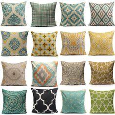 Vintage Geometric Flower Cotton Linen Throw Pillow Case Cushion Cover Home Decor #ad