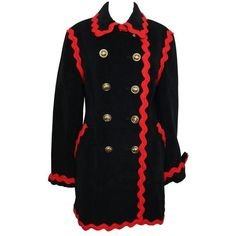 Preowned Moschino Black Wool Double Breasted Coat ($890) ❤ liked on Polyvore featuring outerwear, coats, black, moschino, wool lined coat, embroidered coat, moschino coat and double breasted woolen coat