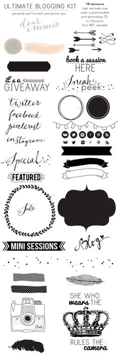 Check these out!!! 48 blogging elements, color customizable: with photoshop CS or Photoshop elements. Color Changing instructions come with the files. All 48 come in layered PSD formatAll come in HIGH res and WEB size.CALLIGRAPHY FONT IS NOT CUSTOMIZABLE, it is hand drawn.Other fonts cannot be customized either.These come in flattened elements that are color customizable. TERMS OF USE:LIMITED COMMERCIAL USE/PERSONAL USE:You can use these in your business product...