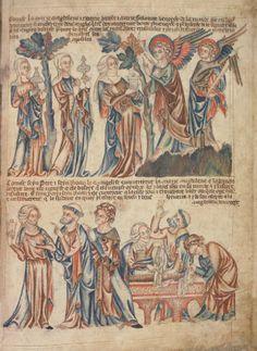 Явление двух Ангелов женам-мироносицам. Петр свидетельствует пустые пелены; Англия; XIV в.; памятник: Библия (Bible ('Holkham Bible Picture Book'). 1327-1335гг.