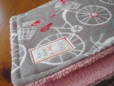 Large  Set of 2  Bike Burp Cloth  Grey Pink Red by BerryBikeyBaby