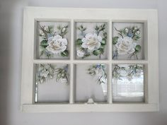 Vintage Window Decor, Vintage Windows, Easy Diy Crafts, Home Crafts, Old Windows Painted, Shabby Chic Flowers, White Roses, Floral Arrangements, Hand Painted