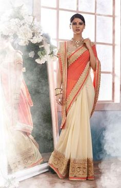 Red and Cream Party Wear Indian Sarees Online ,Indian Dresses - 1
