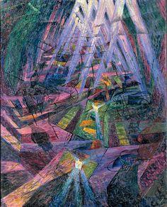 Umberto Boccioni | 1882-1916, Italy | The Strengths of a Street, 1911 | Osaka, Museum of Modern Art