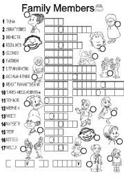 Family Members Crossword Puzzle ESL Exercise Worksheet