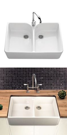 villeroy boch farmhouse 80 white ceramic double bowl belfast sink 795 x 500mm - Double Ceramic Kitchen Sink