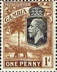 Gambia 1922 King George V Elephant SG SG 124 Fine Mint SG 124 Scott 103 Other Commonwealth Stamps Here