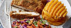 Crumbed chicken with butternut squash waffles - Asda Good Living Chicken And Waffles, Baked Chicken, Chicken And Butternut Squash, Red Cabbage, Kidney Beans, Shake It Off, Asda, Coriander, Tray Bakes