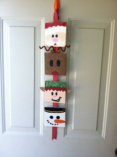 Christmas Door Decoration - I think I'll do one of these with my kids Christmas themes - Santa, Snowman, Angel and Christmas Tree. Christmas Canvas, Noel Christmas, Christmas Paintings, All Things Christmas, Christmas Ornaments, Christmas Door Decorating Contest, Christmas Door Decorations, Christmas Projects, Holiday Crafts