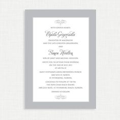 Simple Classy Wedding Invitation with RSVP card  by MsfitDesigns, $25.00