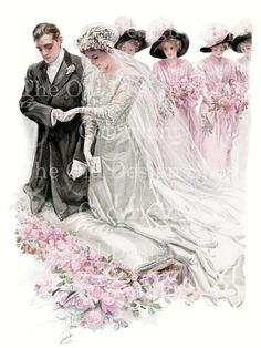 Harrison Fisher The Wedding Vintage Image Printable Digital Download for Cardmaking Altered Art Mixed Media Scrapbooking. $4.00, via Etsy.