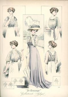De Gracieuse, October 1908, Edwardian Fashion Plate, high waisted skirt, princess skirt
