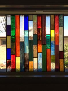 Stained glass panel square multiple colors by MGConcepts on Etsy