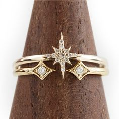 Bague diamants Starburst mis en or 14 k solide or par EnveroJewelry