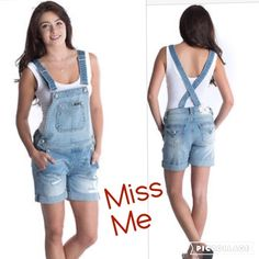 MISS ME Short overalls light blue washed MED JUST IN MISS ME NWT size med short light blue distressed overalls. Great for summer  Miss Me Jeans