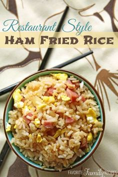 This Restaurant-Style Ham Fried Rice tastes just like the fried rice at a Chinese restaurant!  Find all our yummy pins at https://www.pinterest.com/favfamilyrecipz/