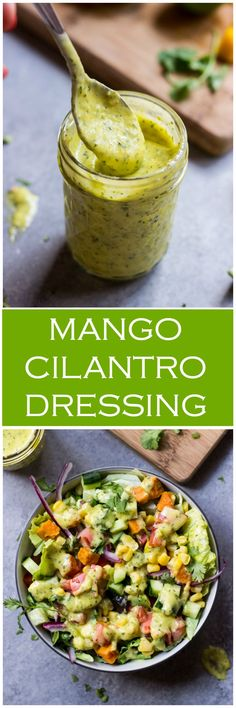 Mango Cilantro Dressing - vibrant, tangy, and little spicy salad dressing that is so good over spicy anything! | http://littlebroken.com /littlebroken/