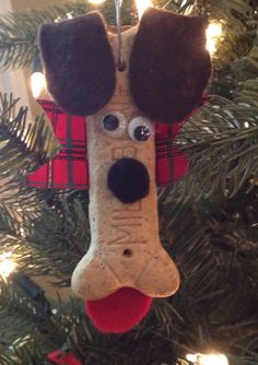Milk dog bone Christmas ornament craft.