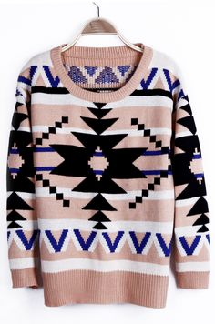 Black Geometric Tribal Pattern Pink Neck Drop Shoulder Sweater