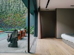 Bedroom and courtyard in a Mexico City home