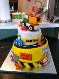 "2nd birthday construction cake idea.  We can help achieve this look at Dallas Foam with cake dummies, cupcake stands and cakeboards. Just use ""2015pinterest"" as the item code and receive 10% off your first order @ www.dallas-foam.com. Like us on Facebook for more discount offers!"