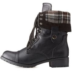 2b120f2a2fb Charlotte Russe Plaid Fold Over Combat Boots ( 20) ❤ liked on Polyvore  featuring shoes