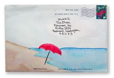 Mail beach art. Artful envelopes sent to Tara Bliven at The Elevated Envelope.