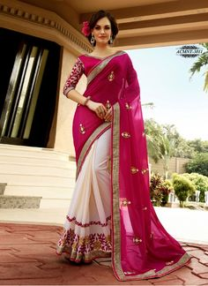 Latest, Hot Pink & Off White, Half Georgette ,Saree     Blouse Fabric Dhupian Colour White, Pink Fabric Georgette Fabric Care Dry Clean Only Length 5.50 mtr Occasion Ceremonial, Reception, Festival, Wedding, Casual, Party Shipping time 7 days Size 0.80 Mtr Type Saree Work Embroidered www.khantil.com