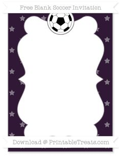 Free Dark Purple Star Pattern Blank Soccer Invitation