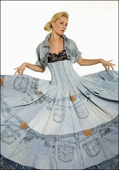 . . . . . How to Recycle: Recycled Denim Jeans Dress