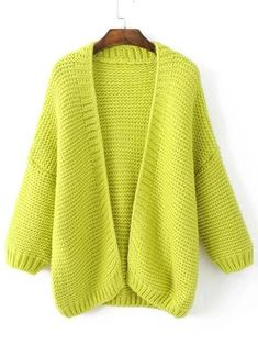 Cárdigan grueso hombro caído - amarillo | SHEIN USA Knit Cardigan Pattern, Crochet Jacket, Sweater Cardigan, Jackets For Women, Sweaters For Women, Funky Outfits, Knitwear Fashion, Cotton Jacket, Clothes