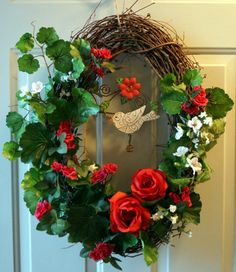 Summer Wreath Summer Song wreaths Bird Wreath Red by Hobby4Crafts