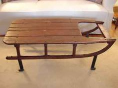 Sled Coffee Table Snow Cozy House Wood Furniture Home Accessories