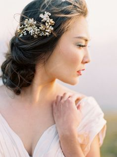 Crystal and Pearl Beaded Bridal Headpiece, Ivory Floral Beaded Bridal Hair Comb, Gold Crystal Enamel Floral Wedding Hair Comb - Style 414 Messy Wedding Updo, Elegant Wedding Hair, Wedding Dress, Quirky Wedding, Messy Updo, Perfect Wedding, Rustic Wedding, Wedding Hair And Makeup, Bridal Makeup