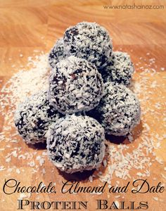 Chocolate Almond and Date Protein Balls are gluten free,  naturally sweetened with dates, have a hint of cinnamon and are so delicious.  www.natashainoz.com