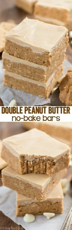 Like the inside of a peanut butter cup, these EASY Double Peanut Butter Bars are no-bake and come together in minutes. Topped with peanut butter white chocolate these bars are a super peanut buttery recipe! (no bake bars recipes) Peanut Butter No Bake, Peanut Butter Desserts, No Bake Desserts, Easy Desserts, Delicious Desserts, Dessert Recipes, Yummy Food, Bar Recipes, Copycat Recipes
